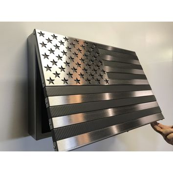 The Carbon Fiber / Steel Strong Box! All Steel, Locking Freedom Cabinet topped with a real carbon fiber flag