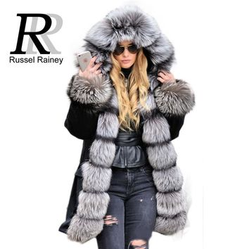 Silver Fox Fur Coat, Fur Collar, Hooded Long Casual Parka