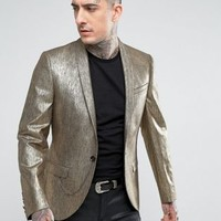 Noose & Monkey Super Skinny Blazer In Gold