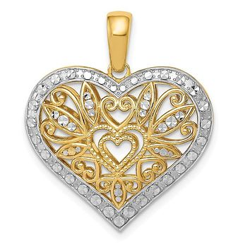 14k Yellow Gold with White Rhodium Filigree Heart Pendant, 23mm