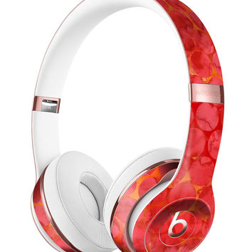 Red Sorted Large Watercolor Polka Dots Full-Body Skin Kit for the Beats by Dre Solo 3 Wireless Headphones