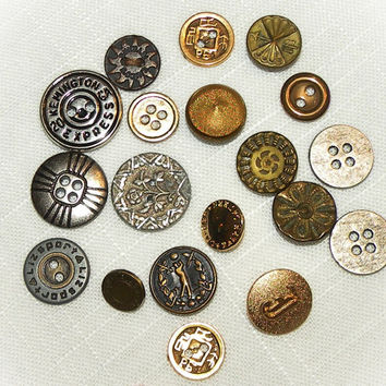 Vintage Buttons Metal Lot of 18 Old Buttons Unique Button Sewing Notions Collectible Buttons