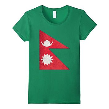 Nepal Flag T-Shirt in Vintage Retro Style