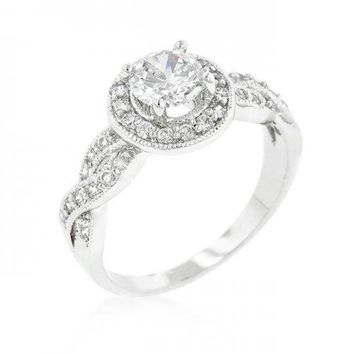 Round Cut Halo Engagement Ring (size: 09) (pack of 1 ea)