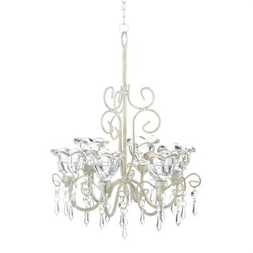 Iron Crystal Blooms Candle Chandelier