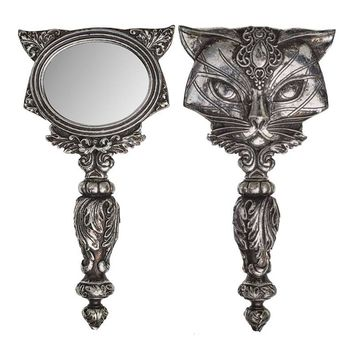Alchemy Gothic Sacred Kitty Cat Hand Mirror