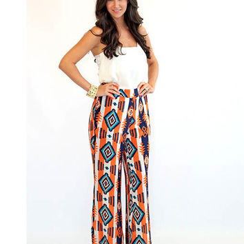 Orange and Blue Tribal Print Palazzo Pants - Lotus Boutique