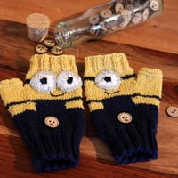 """Fingerless Mittens """"Minions"""", Despicable me fingerless gloves made to order, wrist warmers, funny, soft and warm, handknitted,for her or him"""