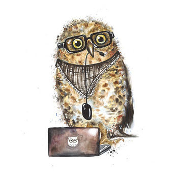 Owl With Notebook - Original Watercolor Bird Illustration Cute Owl Art
