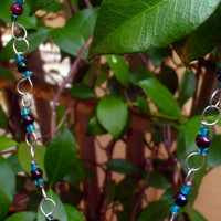 SALE Was 30 dollars  P-Loop Chain Wire Necklace w/ Iridescent Black and Blue Beads
