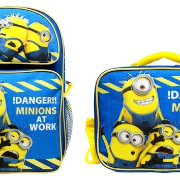"Minions !Danger! Boys & Girls 16"" Canvas Blue Backpack w/Insulated Lunch Bag"