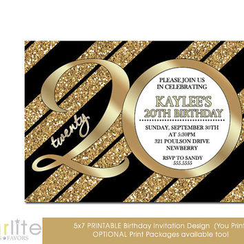 20th Birthday Invitation, Milestone Birthday Invitation - Gold Tone Glitter Black Stripes - 5x7 - Modern Number - unique - You Print