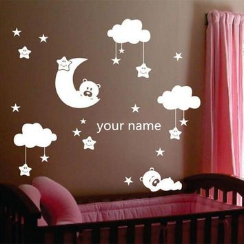 W238 Moon and star vinyl wall stickers for nursery room  Personalized Name cute smiling stars with white clouds baby room decor