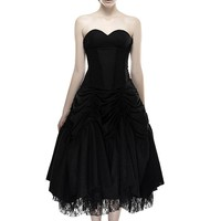 black linen lace backless sexy strapless evening gothic dress