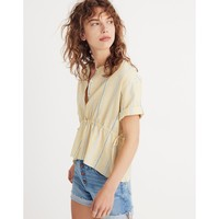Drawstring-Waist Shirt in Atlantic Stripe : shopmadewell button-up & popover shirts | Madewell