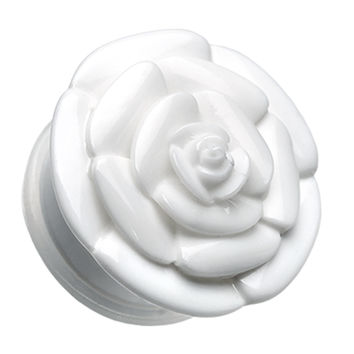 Rose Blossom Flower Single Flared Ear Gauge Plug