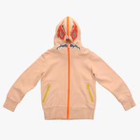 Stella McCartney Kids Bandit Girls Full Zip Up Hoodie with Mask in Peach - 363608 - FINAL SALE