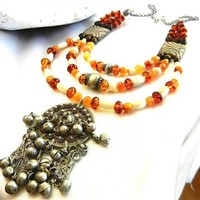 Antique Yemen Silver Filigree Pendant on Three Strands Amber Necklace