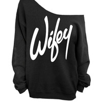 Wifey - Black Slouchy Oversized Sweatshirt for Bride