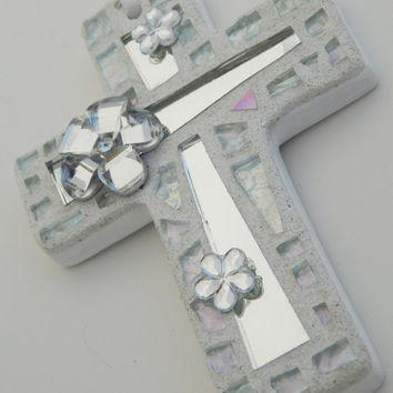 Mosaic Ornament, Cross, Iridescent Glass+Silver Mirror, Handmade Stained Glass Mosaic Design, Wedding, Baptism, Communion, Confirmation Gift