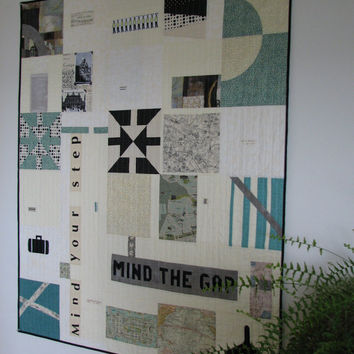 Modern Art Quilt, Travel Quilt, Black, White and Teal