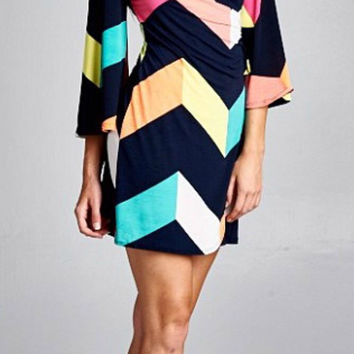 Color Block Wrap Chevron Dress - Navy