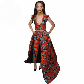 VONE7HQ 2017  African Batik Print Plunge Neck Top and Pants Set