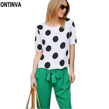 Polka Dot Tunic Women Tops 5XL Plus Size Clothing Summer Style Shirts White Chiffon Blouses Blusa Feminina 2017 Vetement Femme