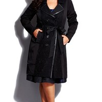 Plus Size Women's City Chic 'Lace Vixen' Belted Double Breasted Trench Coat,