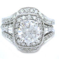 Round cut diamond engagement ring and bands 14k white gold 2.50ctw
