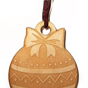 Bulb with Bow Bauble Laser Engraved Wooden Christmas Tree Ornament Gift Seasonal Decoration
