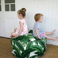"Square Fox Green Palm outdoor pouf ottoman floor seat | Round 85cm or 33"" diameter"