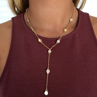 Classy Crystal Necklace in Gold