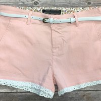 Belted Trim Shorts: Pink