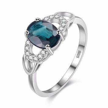 1ct Sapphire Birthstone Stackable Engagement Ring In Sterling Silver For Women