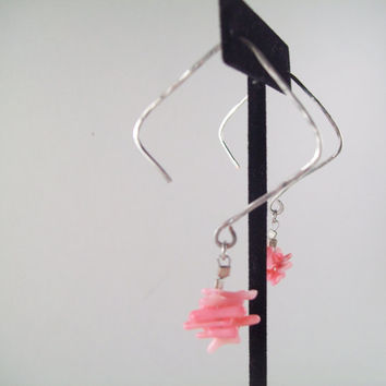 Hand hammered square silver plated copper pink shell earrings