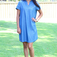 Collared Tinsel Shirt Dress {Denim Blue}