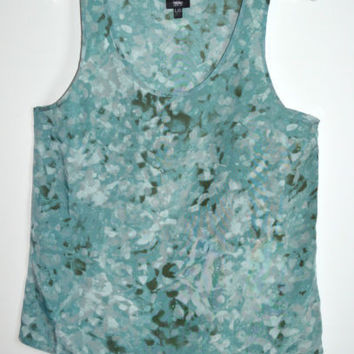 Mossimo Size Large Green Top Polyester Lightweight Womens Tank Sleeveless