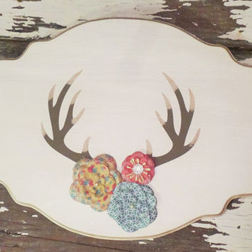 Deer Antler With Flowers Wood Sign, Rustic Wall Decor, Antler Sign, Country Home Decor, Shabby Chic Wooden Wall Art