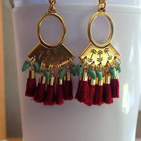 Burgundy and Gold Tassel Earrings Gold Tribal Fringe Earrings Ethnic Boho Earrings Statement Earrings Gift for Her