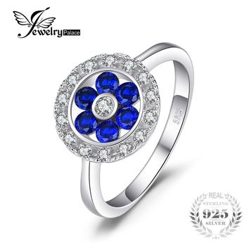 JewelryPalace Fashion 0.72 ct Round Created Blue Spinel Flower Engagement Rings For Women Solid 925 Sterling Silver Fine Jewelry