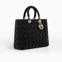 LARGE LADY DIOR BAG IN BLACK LAMBSKIN - Dior