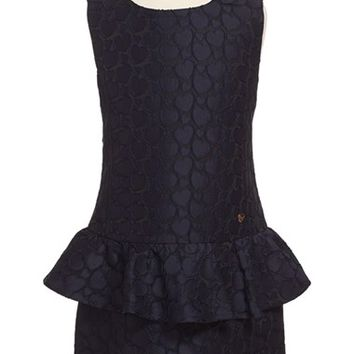 Girl's Armani Junior Sleeveless Jacquard Peplum Dress,