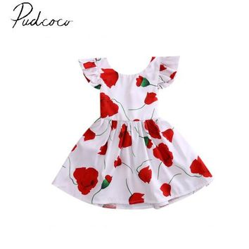 pudcoco 2017 short sleeve o-neck fashion floral Toddler Infant Kids Baby Girls Summer Dress Princess Party Tutu Dresses for 0-6Y