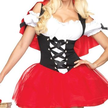 Sexy Red Babe Red White Black Short Puff Sleeve Off The Shoulder Ruffle Lace Up Corset Tulle Tutu Mini Hood Cape Mini Dress Halloween Costume