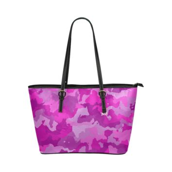 Women Shoulder Bag Camouflage Hot Pink Leather Tote Bag
