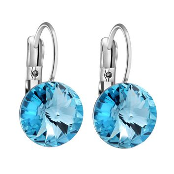 Gorgeous Special Magical Large Stud Style Sky Blue Sparkling Crystals Silver-Tone Fashion Earrings