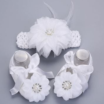 2016 Newborn Baby Girl Shoes Brand,white baptism,Toddler Infant Fabric Baby Booties Headband Set, Baby Walker First Walkers Shoe