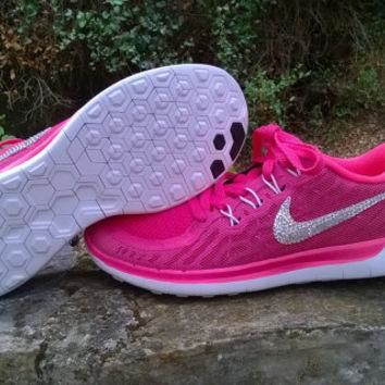 blinged nike free 5.0+2 sneakers sport athletic run shoes custom with crystal swarovsk