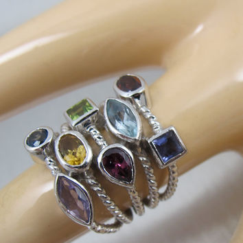 Vintage Sterling Gemstone Ring Wide Cable Band Knuckle Ring Size 8 Five Row Confetti Ring Statement